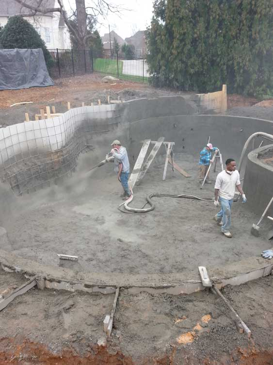 Gunite swimming pool construction